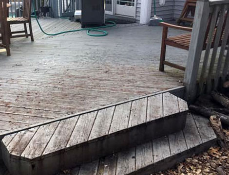 before view of wood deck cleaning and refinishing service in grand rapids, mi