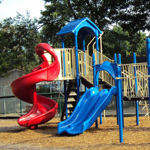 pressure washing and sanitizing playground equipment