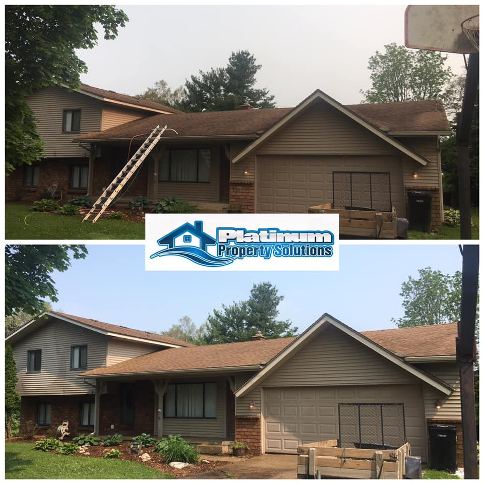 before and after roof washing in grand rapids michigan