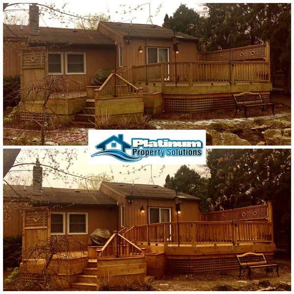 cleaning wood siding and wood deck on west michigan house before and after