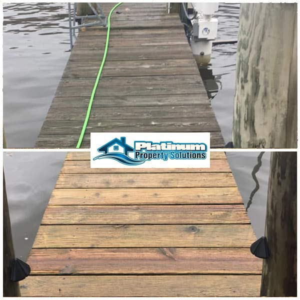 wood boat dock cleaning before and after