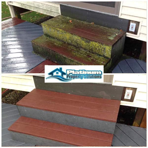 pressure washing and cleaning wood plank stairs on grand rapids, michigan house