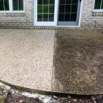 before and after of platinum property solutions concrete patio cleaning in grand rapids, michigan