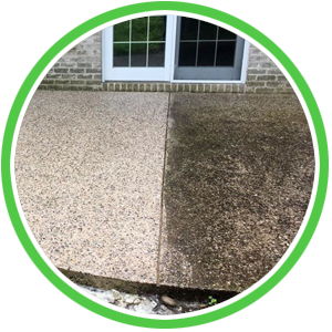 concrete patio cleaning with platinum property solutions soft washing technique