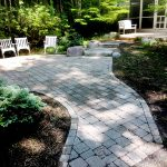 concrete paver cleaning removes moss on walkway