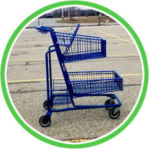 shopping cart in parking lot at cedar springs mi grocery store