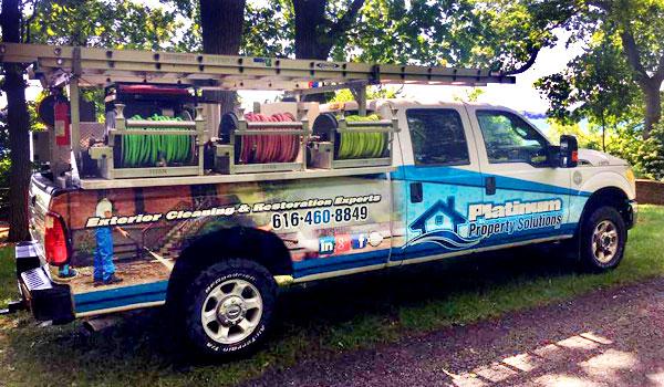 platinum property solutions pressure washing truck